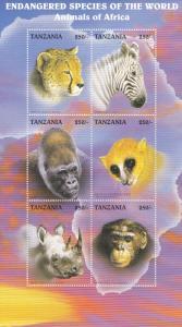 Tanzania # 1630G, Endangered Species - Animals of Africa, NH, Half Cat,