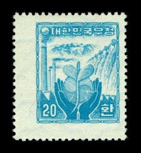 KOREA 1955 Industrial Reconstruction 20h blue -wmk 257- Sc# 211 (Mi 188)mint MNH