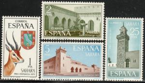 SPANISH SAHARA 205-208, CHILD WELFARE 1971 ARCHITECTURE,. MINT, NH VF. (82)