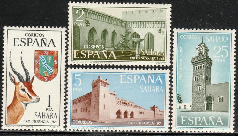 SPANISH SAHARA 205-208, CHILD WELFARE 1971 ARCHITECTURE,. MINT, NH VF. (82)