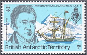 British Antarctic Territory # 76 mnh ~ 3p John Barrow and Ship