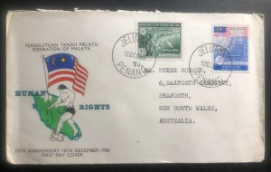1958 Penang Malaya First Day Cover FDC To Seaforth Australia Human Rights