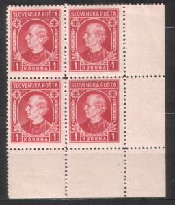 Slovakia 1939 Sc#31 Andrej Hlinka Block of 4 MH