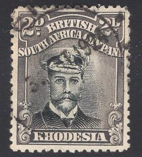 Rhodesia    #122a  1913  used  king George V   2p  gray and black