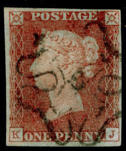 SG8, 1d red-brown PLATE 29, FINE USED. Cat £350. blk MX NUMBER 12. 4 MARGINS. KJ