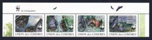 Comoro Is. WWF Livingstone's Fruit Bat Top Strip with WWF Logo MI#2212-2215