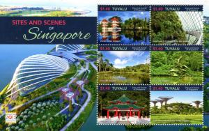 Tuvalu Landscapes Stamps 2015 MNH Sites & Scenes Singapore Temples Trees 6v M/S
