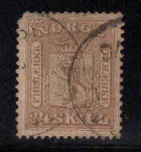 Norway Scott 10 Used Coat of Arms, clipped corner