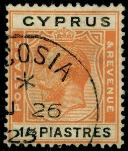 CYPRUS SG107, 1½pi orange & black, FINE USED, CDS. Cat £18.