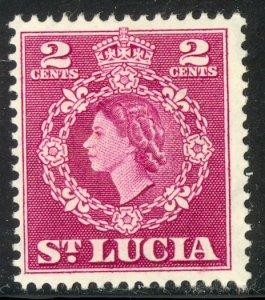 ST LUCIA 1953-54 QE2 2c Portrait Issue Sc 158 MH