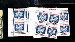 O127-133 MINT Plate Blocks F-VF OG NH Cat $61