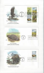 US Wildlife Habitats 1921-4  Fleetwood FDC 5 Covers
