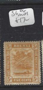 BRUNEI  (P1005BB)  5C  SG 66  USUAL TONED GUM  MOG