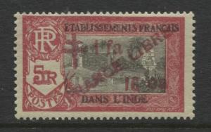French India - Scott 209 -Overprint Libre Issue-1943- MVLH- Single 1f 16ca Stamp