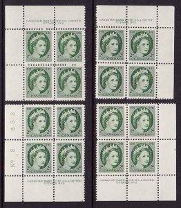 Canada-Sc#338- id10999-unused NH four plate blocks#2- 2c QEII Wilding-1954-