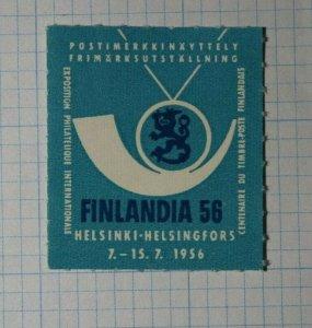 FINLANDIA Philatelique Internationale 1956 Philatelic Souvenir Ad Label