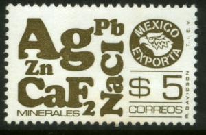 MEXICO Exporta 1120a $5P Minerals P11 1/2 Unwmkd Paper 5 MINT, NH. VF.
