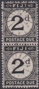 FIJI POSTAGE DUE 1918 2d SG D8 a scarce used vertical pair.................87638