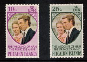 Pitcarin Princess Ann's Wedding #135-136  mnh