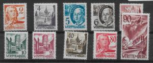 Germany (Wurttemberg) 8N28-37 (without pf) Various set MNH (z2)