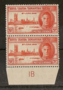 KUT 1946 Victory 20c Plate 1b MNH/MH