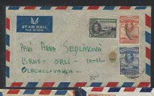 GOLD COAST COVER (PP0211B) KGVI 3D+6D+1/-  IA/M  COVER TO CZECHOSLOVAKIA