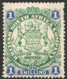 RHODESIA-1896-97 1/- Green & Blue Sg 35 AVERAGE MOUNTED MINT V37875