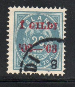 Iceland  Sc 47 1902 20 aur dull blue stamp overprinted used