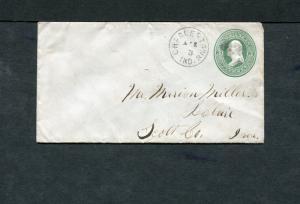 Postal History - Charlestown IN 1875 Black Cork Killer Cancel Stationery B0486