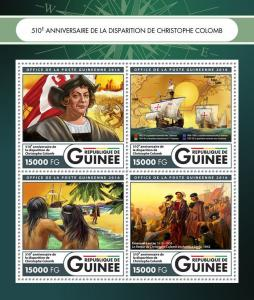 Guinea Ships Stamps 016 MNH Christopher Columbus Famous Explorers People 4v M/S