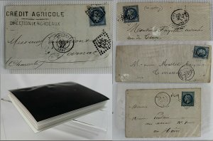 France 1863 /70 bundle of 20c blue perforate Napoleon covers  entires FU Covers