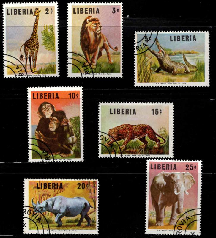 LIBERIA Scott 451-457 Used CTO Wildlife set