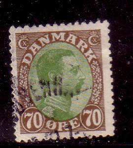 Denmark Sc 125 1920 70 ore Christian X stamp used