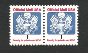 O143 Official Mail 1cent Pair Mint/nh FREE SHIPPING