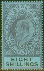 Gibraltar 1903 8s Dull Purple & Black-Blue SG54 Fine & Fresh Lightly Mtd Mint (3