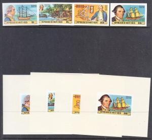 Burkina Faso Scott 474-477 imperf and deluxe sheets (Captain Cook) Mint NH