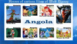 ANGOLA SHEET IMPERF CINDERELLA DISNEY CARTOON FILMS TARZAN