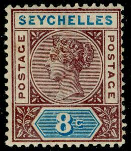 SEYCHELLES SG3, 8c brown-purple & blue, LH MINT. Cat £16. DIE I.