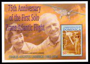 DOMINICA 2371 MNH S/S SCV $5.00 BIN $3.00 75th ANNIV. SOLO TRANS-ATLANTIC FLIGHT