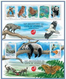 GUINEA BISSAU 2014 2 SHEETS gb14204ab RED LIST BEARS OWLS