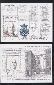 Turks & Caicos Islands # 688-689, Handel & Bach, Souvenir Sheet,  NH, 1/2 Cat.