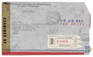 Uruguay Censored Registerd Commercial Meter Cover 1944
