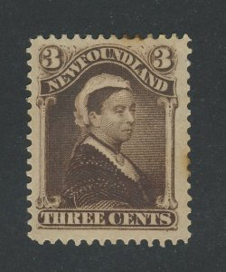 Newfoundland MH Stamp #51a-3c Brown Victoria VF Guide Value = $120.00