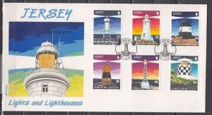 Jersey, Scott cat. 923-928. Lighthouses issue. First day cover.