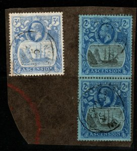 ASCENSION SG19(x2) & SG14 1924 2/= GREY-BLACK & BLUE/BLUE FINE USED ON PIECE