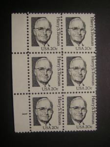 Scott 1862, 20c Harry S. Truman, PB6 #1 LM bottom, MNH Great Americans Beauty