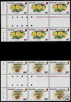 Ascension 321-2 Gutter Pair Strips MNH Flowers, Commonwealth Games