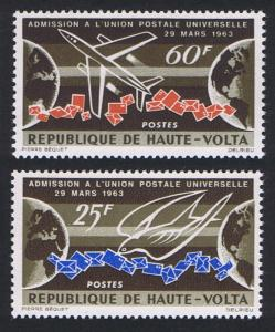 Upper Volta First Anniversary of Admission to UPU 2v 1964 MNH SG#143-144
