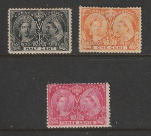 Canada x 3 QV Jubilee low values MH