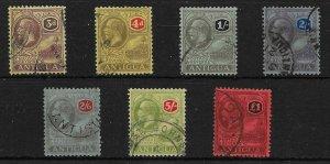 ANTIGUA SG55/61 1921-2 MULTI CROWN DEFINITIVE SET USED
